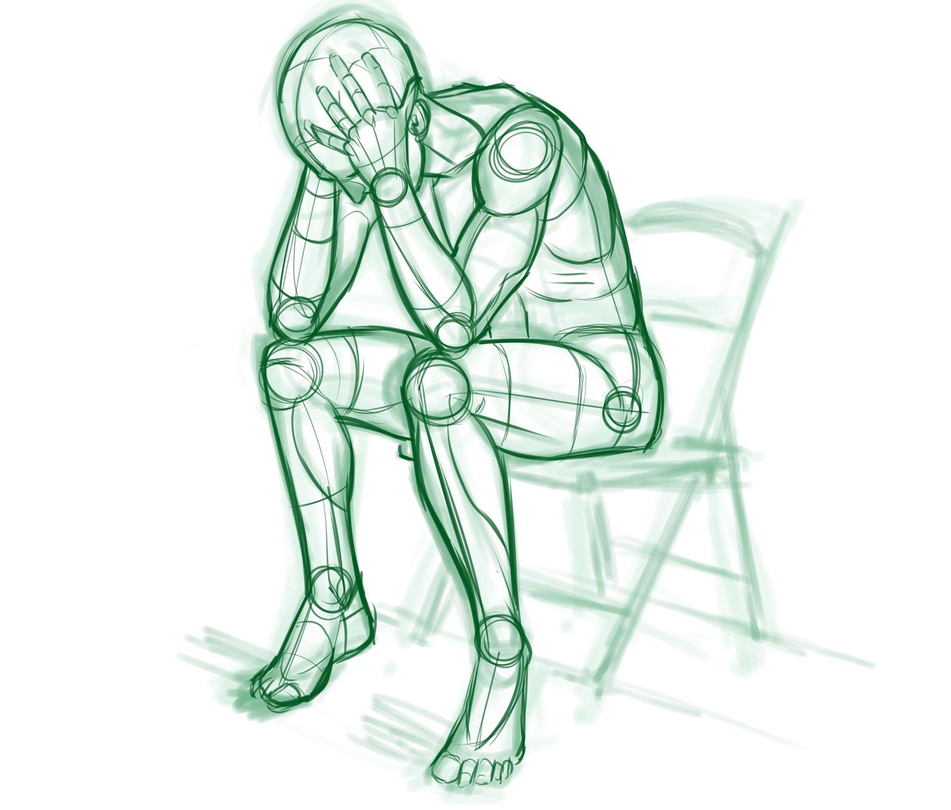 Schizzo di persona affaticata seduta su una sedia